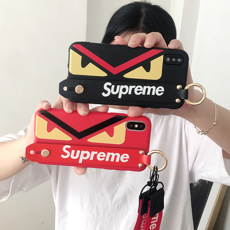supreme iphone xsケース バンド付き